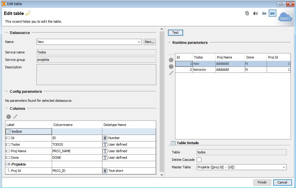 VisionX REST to REST database master detail relationship