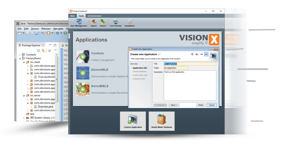 fast development with the low-code platform from VisionX