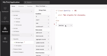 Zoho Creator – workflow editor