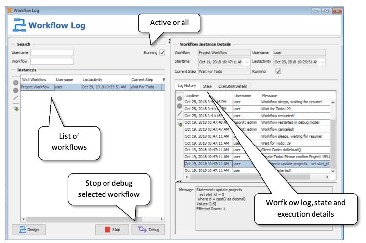 Workflow log monitor