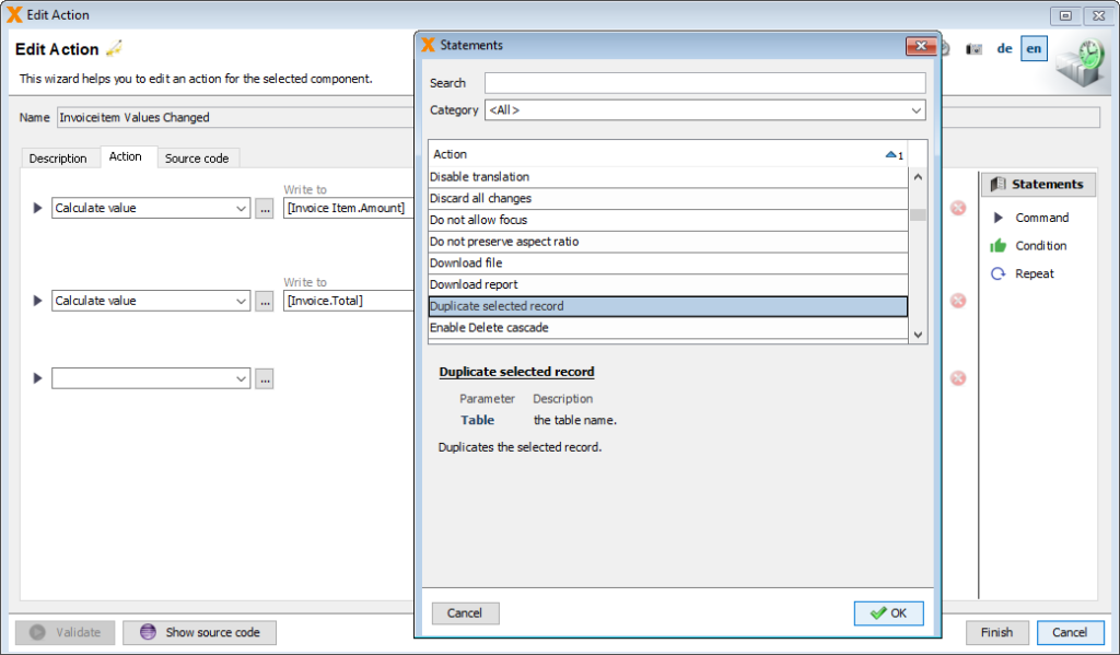 Screenshot of Action Editor in VisionX