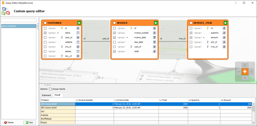 Screenshot of Query Editor in VisionX