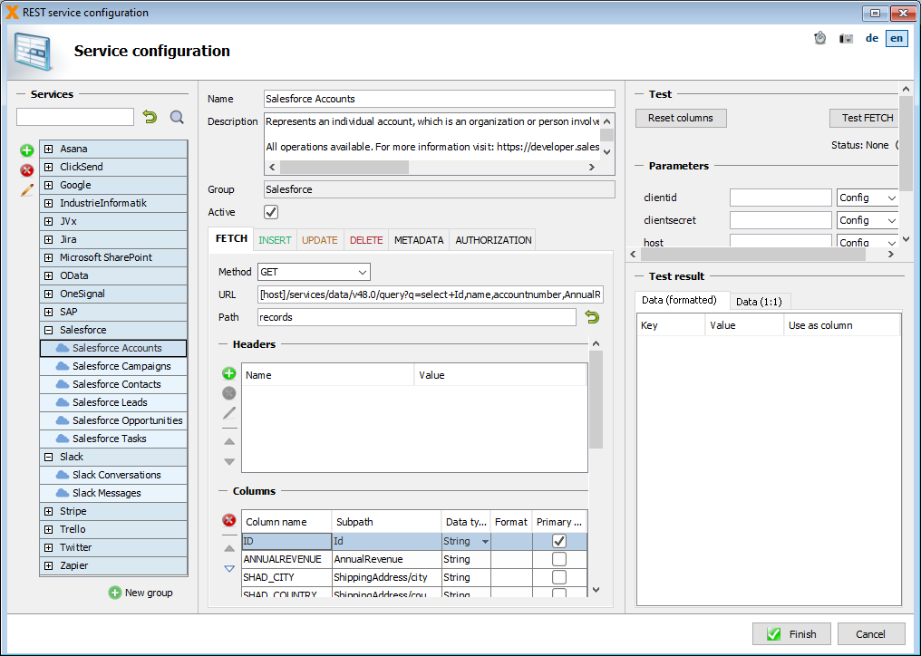 Screenshot of REST Service Configuration in VisionX