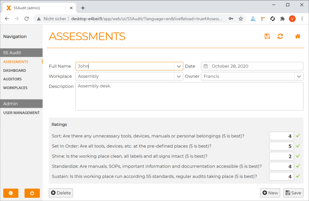 screenshot from the newly created auditing app