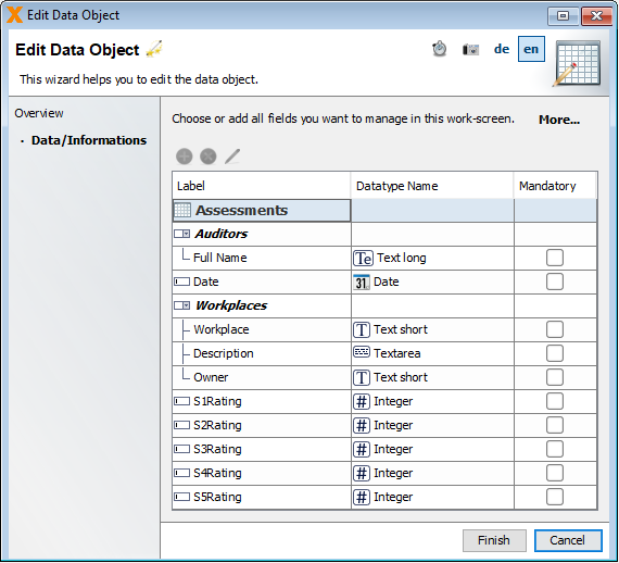 screenshot of VisionX window: edit data object